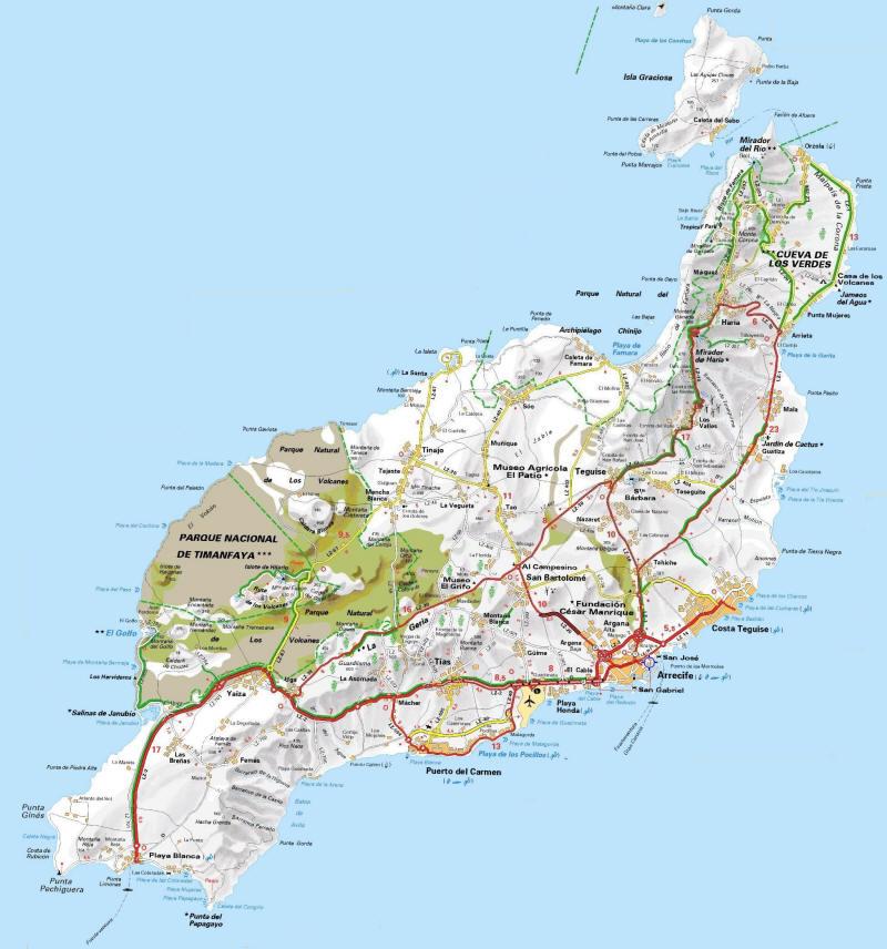 Isla De Lanzarote Mapa.Mapa Lanzarote